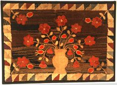 """Compote of Flowers With Sawtooth Border Hooked Rug  Little Compton, RI, Ca. 1910-20   39"""" wide x 28"""" high."""