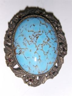 Vintage glass turquoise brooch $0.99 ebay auction.