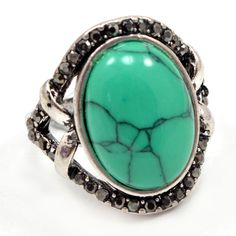 Beautiful! Turquoise & Marcasite 925 Silver Overlay Ring Jewelry Sz 10 AU 15178 #PinkCityGems #ExclusiveCollection