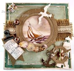 Male Card using Marianne Design & Joy Craft dies Scrapbooking Layouts, Scrapbook Cards, Tarjetas Diy, Marianne Design Cards, Sea Theme, Seaside Theme, Nautical Cards, Beach Cards, Shabby Chic Cards