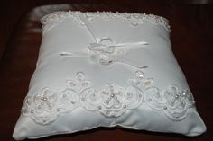 NEW * WHITE FLORAL LACE - PEARLS - SEQUINS,  RING BEARER PILLOW Bridal Wedding #BridalbyGlenda