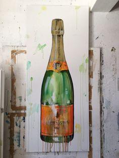 """Veuve Clicquot"" Acrylic on Canvas x Kurt Pio Veuve Clicquot Champagne, Watercolor And Ink, Watercolor Paintings, Bar Art, Bottle Art, Artsy Fartsy, Home Art, Art Inspo, Amazing Art"