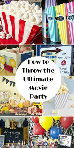 How to Throw the Ultimate Movie Party - Food, Fun and More! Great ideas for decor, crafts/DIY, and recipes for the perfect movie party!