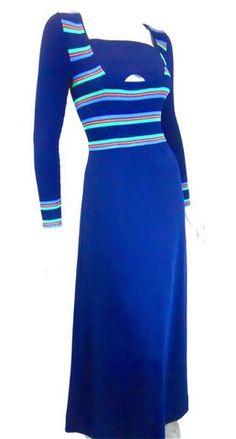 Space Age Peekaboo Bodice Striped Maxi Dress circa 1970s