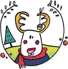 Small colorful ready for Christmas reindeer. A scarf in peas and voila / Petit renne coloré prêt pour Noël. Une écharpe à pois et le tour est joué. @Marie Colin
