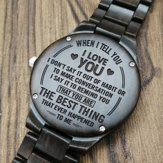Perfect Gifts For Husband Engraved Wooden Watch Meaningful Gifts For Boyfriend, Perfect Gift For Boyfriend, Gifts For Your Boyfriend, My Boyfriend, Bday Gifts For Him, Gifts For Fiance, Birthday Gifts, Watch Engraving, Sweet Messages