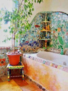 Colorful cob bath