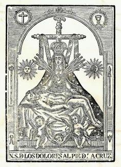 A 19th century engraving of 'la Virgen de las Angustias', or Our Lady of Anguish, in Granada, Spain.