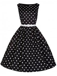 LINDY BOB Audrey Polka, schwarz Retro Kleid