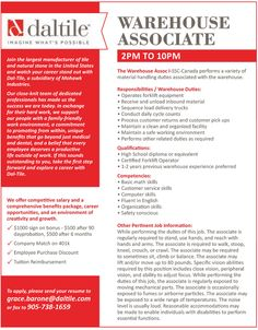 Are you looking for a #WarehouseAssociate #job? With #Daltile, you can imagine the possibilities.