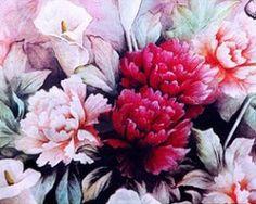 Elegantný dámsky hodvábny šál s kvetmi vo fialovo - ružovej farbe