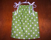 Girls Lime Green Polka Dot Pillowcase Dress, 3month-6years, Infant, Baby Girl, Toddler Dress, Spring, Summer, Beach Vacation, Birthday