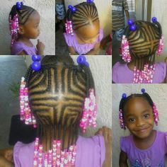 SCALP BRAIDS / HAIR BRAIDS / PROTECTIVE HAIRSTYLES / LITTLE GIRL HAIRSTYLES / HAIR BEADS / PONY TAILS /
