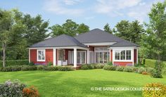 "Traditional Farmhouse ""Cedar Cove Creek"" Home Plan l Rear Elevation l Sater Design Collection"