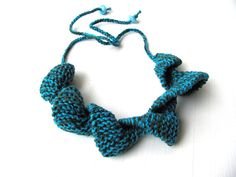 Knitting necklaceblue greenCotton gift for her  knit by AnnaLela, $25.00