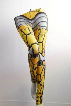 Bionic Leggings - Printed Metal Robot Tights - Armor plate look via Etsy