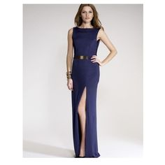 Dress Navy blue dress with belt attached, low scoop back and high knee split. Dresses Maxi