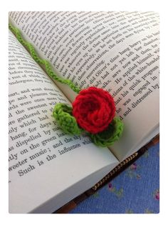 Passion Red Rose Crochet Bookmark  by dollydoulton75 on Etsy, £6.95