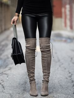 incredible Farfetch stuart weitzman highland grey boots Drome leather leggings not your sta… Grey Boots Outfit, Thigh High Boots Outfit, Over The Knee Boot Outfit, Over Knee Boots, Grey Knee High Boots, Gray Boots, Tall Boots, Fall Winter Outfits, Autumn Winter Fashion