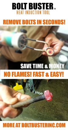 Remove old rusted bolts in seconds! No Flames! Fast & Easy! Precision Heating allows you to just heat the nut as shown you can hold the bolt with your bare hand.