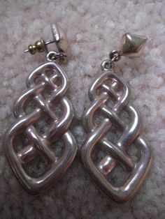 Celtic Irish Dress Earrings Vintage Ethnic Dark Silvertone Long Pierced