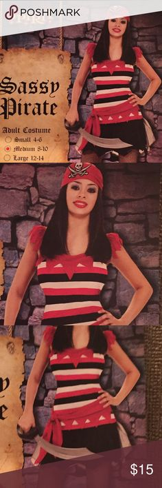 """NEW """"Sassy Pirate"""" Costume • MED NEW """"SASSY PIRATE"""" HALLOWEEN COSTUME • Includes: Dress, Belt and Head Scarf • MED Other"""