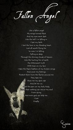 Discover and share Angel Poems And Quotes. Explore our collection of motivational and famous quotes by authors you know and love. Angels And Demons Quotes, Fallen Angel Quotes, Fallen Angel Wings, Fallen Angels, Fallen Angel Tattoo, Dark Angels, Sad Angel, Angel And Devil, Devil Quotes