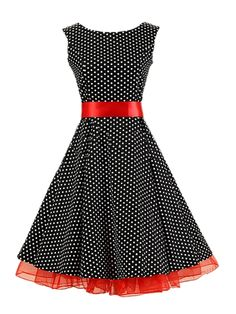 Polka Dot Vintage Bowknot Fascinating Round Neck Skater Dress - fashionmia.com