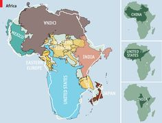 Africa is much bigger than you think. In mercatorial maps the sizes of landmasses grow as you go towards poles. this makes china, usa, russia etc look much bigger. however, in more accurate map projections africa shows its true size.
