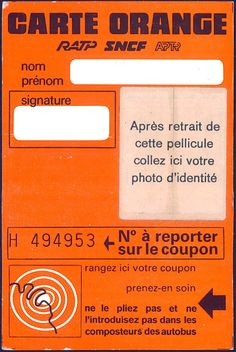 La Carte Orange l'ancêtre du pass Navigo