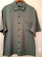 Tommy Bahama Men's Button-Front Short Sleeve Solid Blue SILK Shirt S Medium