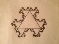 The 'Hen Snowflake'--i.e, the opposite of a Koch Snowflake--where 2 smaller triangles attach to each edge of every straight line, instead of 1 triangle at each line center