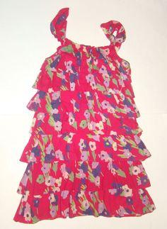 Gap Kids Gypsy Pink Poppy Floral Flower Tiered Ruffled Easter Sun Dress Girl M 8 #GapKids #DressyEveryday