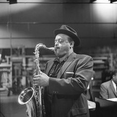 American jazz musician and saxophonist Ben Webster (1909 - 1973) at the piano during rehersal for an episode of 'Robert Herridge Theater' entitled 'Jazz from 61,' New York, New York, September 2, 1959.