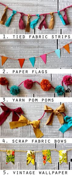 Ways to Make a Garland 10 ways to make a garland. via A Beautiful ways to make a garland. via A Beautiful Mess. Arts And Crafts, Diy Crafts, Party Crafts, Ideias Diy, Fabric Bows, Fabric Strips, Scrap Fabric, Fabric Strip Garland, Fabric Hearts