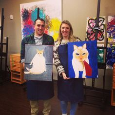 """Two happy painters and one really happy kitty! @artbarraleigh"""