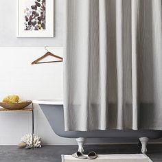 Ticking Stripe Shower Curtain #westelm