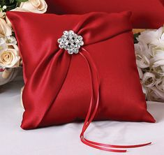 This Garbo Ring Bearer Pillow is covered in exquisite matte bridal satin in your choice of claret, ivory, white or black.