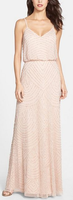 Embellished gown in blush by Adrianna Papell