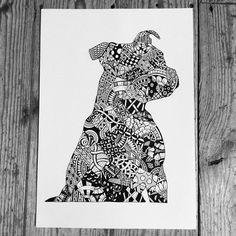 #staff #staffy #staffordshirebullterrier #zendoodle #zentangle #doodle #dog #dogs #tangle #doodleart #sketch #drawing #art #artwork #pet #ornate #ozeedesigns