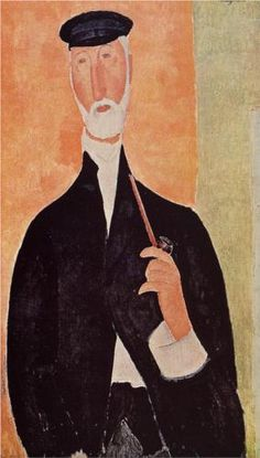 Man with a Pipe (The Notary of Nice) by Amedeo Modigliani, 1918. Portrait. Expressionism.