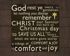 God rest ye merry gentlemen...  Printable 8X8 Christmas Christian wall art decor. Scripture Wall Art decor, Christian quotes and printables by dwellart.