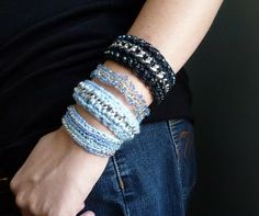 Crochet a mixed media bracelet using chain with several variations.