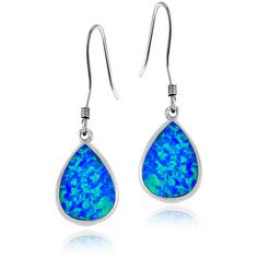 Glitzy Rocks Sterling Silver Synthetic Opal Teardrop Earrings