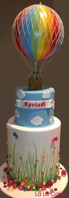 Rainbow, Hot air balloon Cake Art