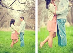 spring orchard engagements I like the pink, grey and green