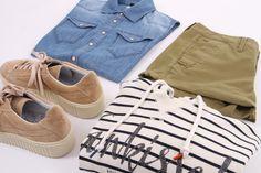 Hilfiger Denim Trui, G-Star short en denim blouse. Met suède schoenen van PostXChange!