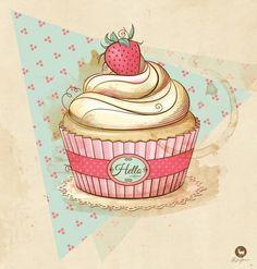 my Vintage Cupcake Art Print