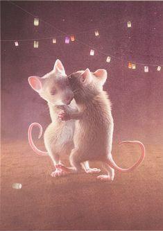 My mice are dancing at night...  Postcard with my illustration on DaWanda #illustration #postcard #animals #mouse #zurkleinenmaus