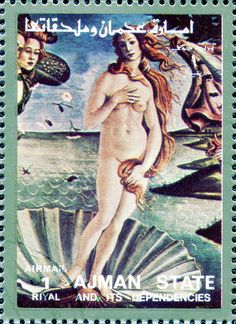 Sandro Botticelli's The Birth of Venus, c. 1486 (detail). Ajman Stamp of the United Arab Emirates